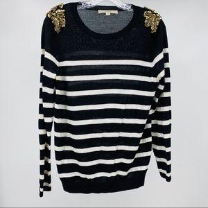 Loft Striped Bling Sequin Shoulder Sweater